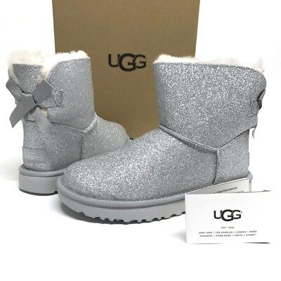 63ec8ad22 UGG Mini BAILEY BOW SPARKLE Glitter Boots Booties SHEARLING Fur LINED 10  NEW NIB