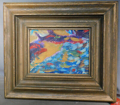 Colorful Mid Century Modern Pointillist Abstract Painting MASSIVE Picture Frame