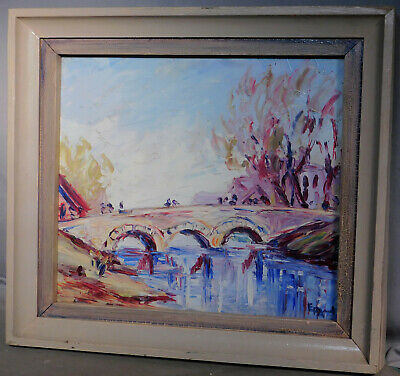 Vintage Modern French Post-Impressionist Oil Painting Landscape Mystery Artist