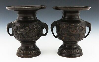 Pair of Antique Chinese Qing Dynasty Bronze Vases Birds Elephant Mask Handles