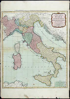JBB D'ANVILLE Antique & Ext Rare Late 18thC 1794 [1807 Atlas] A NEW MAP OF ITALY