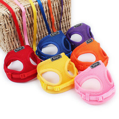Puppy Dog Cute Durable Mesh Vest Harness Lead Leash Collar Chest Back Tool UK