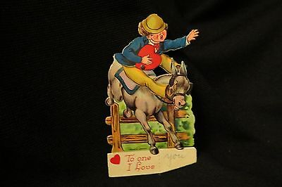 Vintage HORSE JUMPING Valentine Card c. 1920s GERMANY