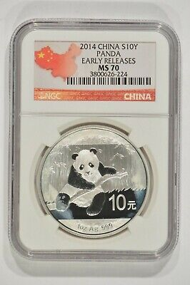 2014 China 1 oz Fine Silver Panda 10 Yuan S10Y NGC MS70 Spotted 3800626-224