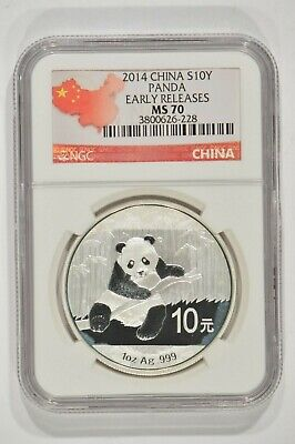2014 China 1 oz Fine Silver Panda 10 Yuan S10Y NGC MS70 Spotted 3800626-228