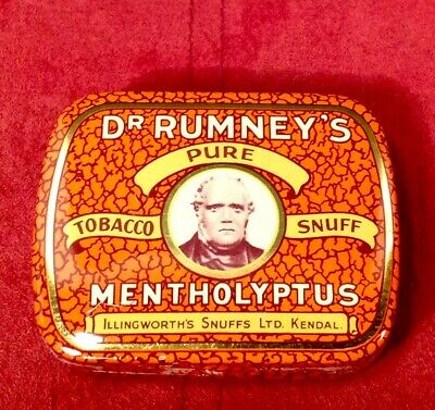 Dr RUMNEY'S Pure Tobacco Sniff TIN Collectible with original Mentholyptus Snuff