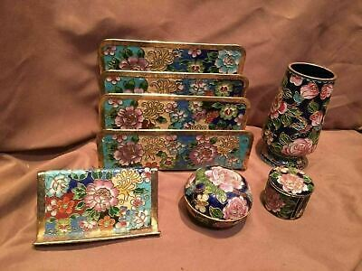 5 Pc Oriental Chinese Cloisonne Desk Set Business Card Mail Caddy Stamp Ink Pen