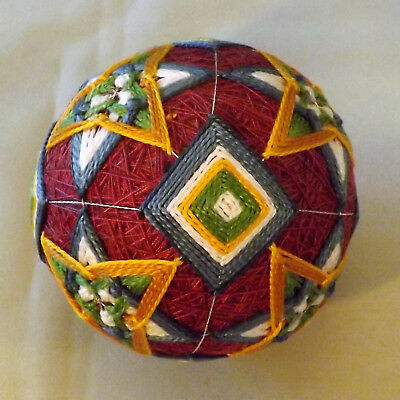 Japanese Temari Ball Maroon with overlapping triangles handmade by me