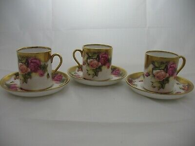 RARE Royal Chelsea Golden Rose Bone China (3) Flat Demitasse Cups and Saucers