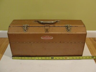 "Vintage Park Steel Fishing Tackle box Tool Box USA 21"" Folding 4-Drawer"