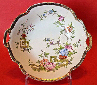 Nippon Noritake Hand Painted Bowl With Gilded Handles - Ikebana Flowers - Japan
