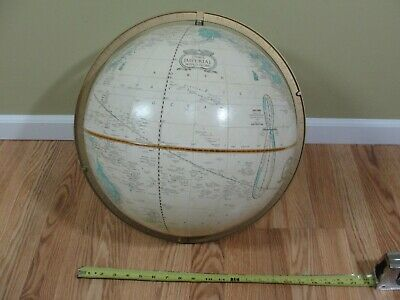 "Vintage Cram's 16"" Imperial World Globe with Metal Ring NO STAND Free Shipping"