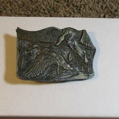 Vintage ~ Brass Belt Buckle. Geese or Ducks. Made in USA. 3""