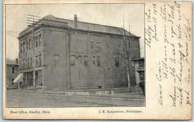 Shelby, Ohio Postcard Post Office Building / Street View w/ 1908 OH Cancel