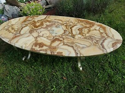 Vintage Mid Century Mexican Muller Onyx Table with Brass Legs and Trim