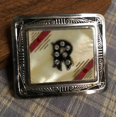 """Vintage Silver Face - Jeweled Initial """"R"""" Woman's Belt Buckle Lokit 1-3/4x1-1/2"""""""