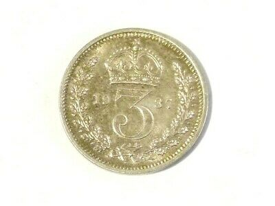 1937 Three Pence MAUNDY 3d Silver Coin George VI British #D91