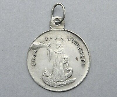 Saint Benedict of Nursia. Benoit. Antique Religious Silver Pendant. French Medal