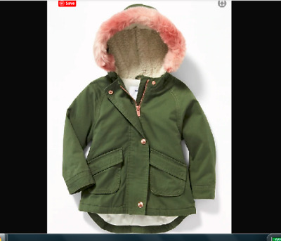 6859f643c GAP OLD NAVY Hooded Faux-Fur-Trim Field Jacket for Toddler Girls 3T 4T