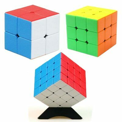 2x2 3x3 4x4 ABS Cube Stickerless Speed Magic Cube Puzzle Twist Rubix Rubiks Toy