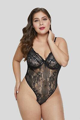 05bf74cced3 Women Sexy Bodysuit Sweet Floral Lace Patchwork Plus Size Teddy Lingerie V  Neck