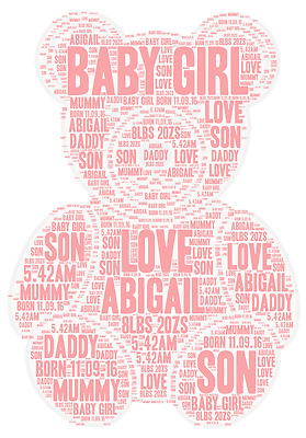 Personalised Baby Girl Teddy Christening New Born word art picture