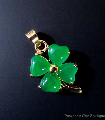 Jade pendant lucky clover gold plated balance and protection