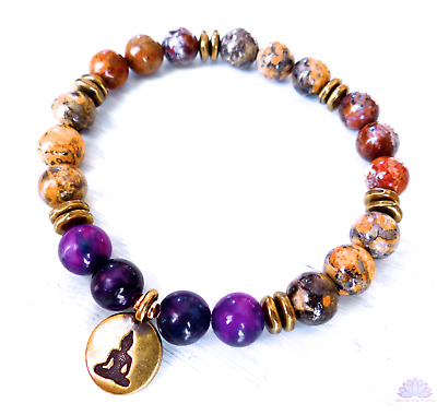Opal and yellow jasper bead bracelet w/ sugilite and bronze Buddha
