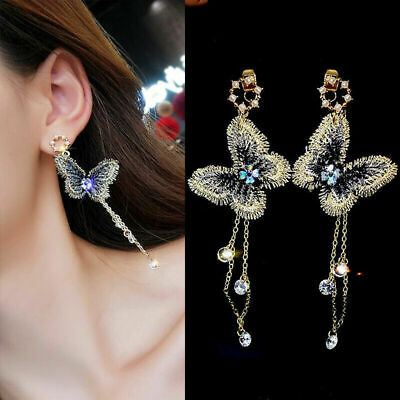 Fashion Elegant Women Embroidery Butterfly Crystal Long Tassel Dangle Earring