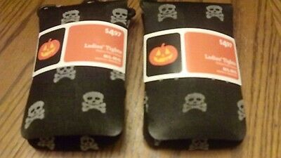 Lot of 2 Pair NEW Women Tights M/L GOTH Black SKULL & BONES PRINT Halloween Rock
