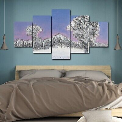 5Pcs Abstract Snow Tree Mountain Canvas Wall Oil Painting Home Decor Picture