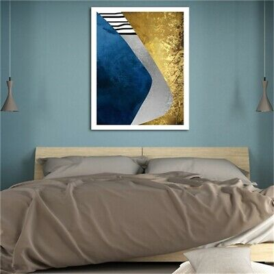Gold Blue Abstract Pattern Oil Painting Canvas Modern Home Wall Decor Art Poster