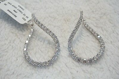 0122d5034 MACYS Tiara Cubic Zirconia Fancy Shape Hoop Earrings in Sterling Silver