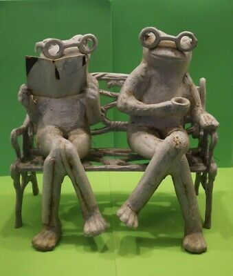 Vintage Cast Iron Frogs Sitting Relaxing On Bench Garden Metal Art Heavy