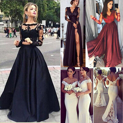 411c93196ce Women Bridesmaid Wedding Long Dress Evening Cocktail Party Prom Gown Full  Dress