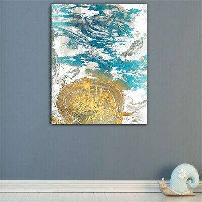 Abstract Blue Golden Oil Painting Canvas Modern Home Wall Decor Poster Picture