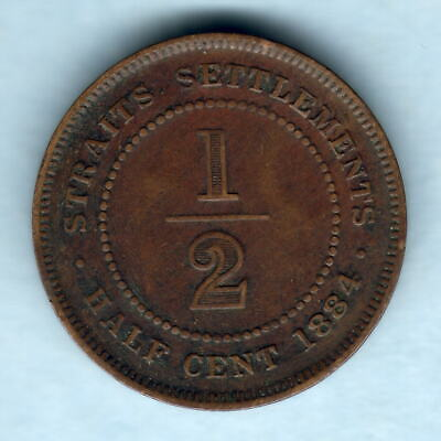 Straits Settlements. 1884 1/2 Cent.  VF/aVF - SCARCE