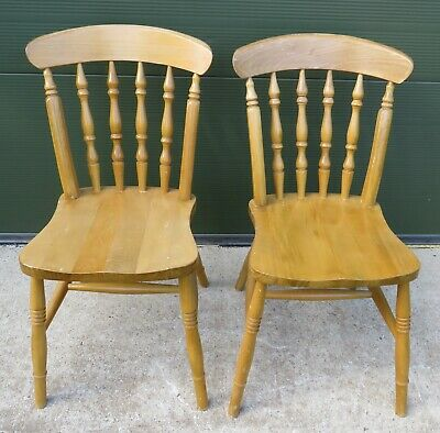 Pair of Solid Pine Kitchen Dining Chairs in the Antique Style