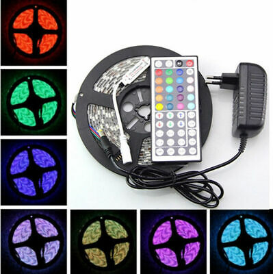 5M 3528 SMD 300 LED RGB Flexible Light Strip Lamp +44 key IR+12V 2A Power Supply