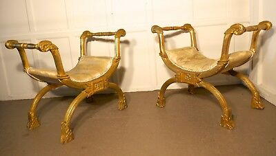 Pair of 19th Century Empire Style Gilt X Frame Stools
