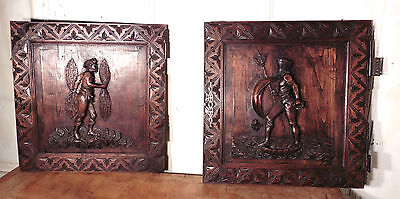 Pair of Superbly Carved Oak Door Panels, Thor and Neptune
