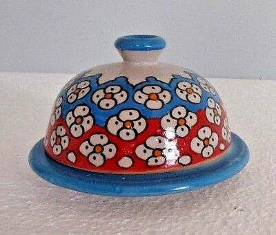 Hand Painted Ceramic Round Butter Dish * Fes Pottery * Rustic Chic