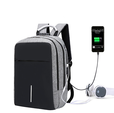 Anti-theft Mens USB with Charger Port notebook Backpack Laptop Travel School Bag