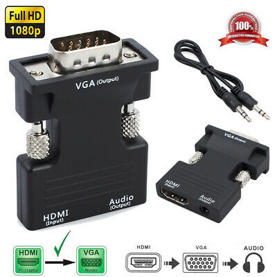 New 1080P HDMI Female to VGA Male with Audio Output Cable Converter Adapter Lead
