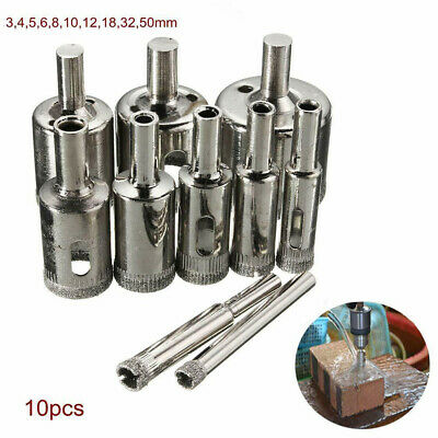 10Pcs Diamond Hole Saw Drill Bit Set Cutting Tool For Tile Marble Glass 3mm-50mm