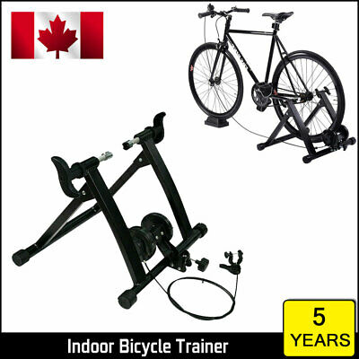 Indoor Foldable Magnetic Bike Trainer Stand Bicycle Exercise Workout Steel Black