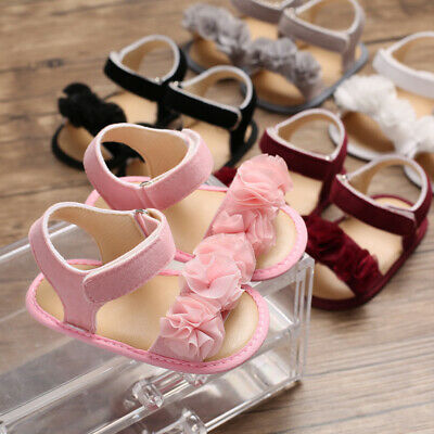Newborn to 18 Months Baby Girl Floral Crib Shoes Infant Child Summer Sandals