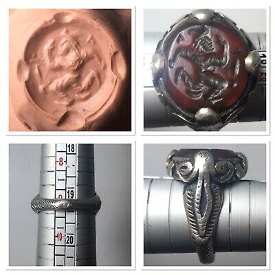 Beautifully Solid Silver Ring medieval agate intaglio