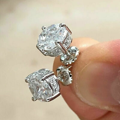 2.20Ct Round Cut D/VVS1 Diamond Solitaire Stud Earrings 14K White Gold Over