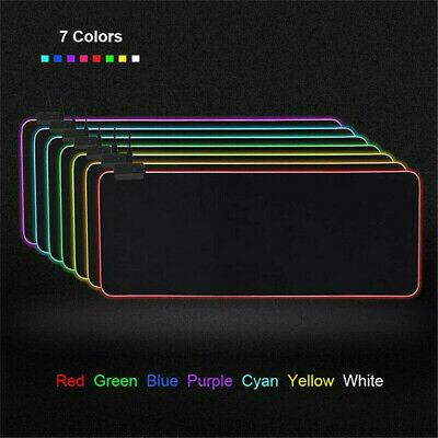 AU RGB LED Gaming Mouse Pad Desk Mat Extended Anti-slip Rubber Speed Mousepad